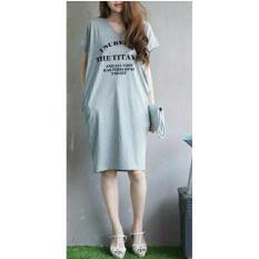Shopping Yukz Midi Dress Wanita VIVE - GREY / Dress Kaos Wanita / Dress T-shirt Wanita / Gaun Kaos Wanita / Dress Santai Wanita / Gaun Remaja/ Gaun Kasual / Dress Casual Wanita / Dress Murah / Dress Gaul / Dress Modern / Gaun Murah / Gaun Modern