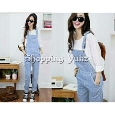 Shopping Yukz Overall Jumpsuit Jeans Wanita Claudi ( Tanpa Inner ) - SOFT BLUE / Baju Kodok /Jumpsuit Jeans/ Ripped Jeans