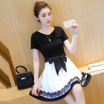 Small Fragrant Wind Korea renda Cooljie lengan pendek gaun (Hitam dan putih rok)