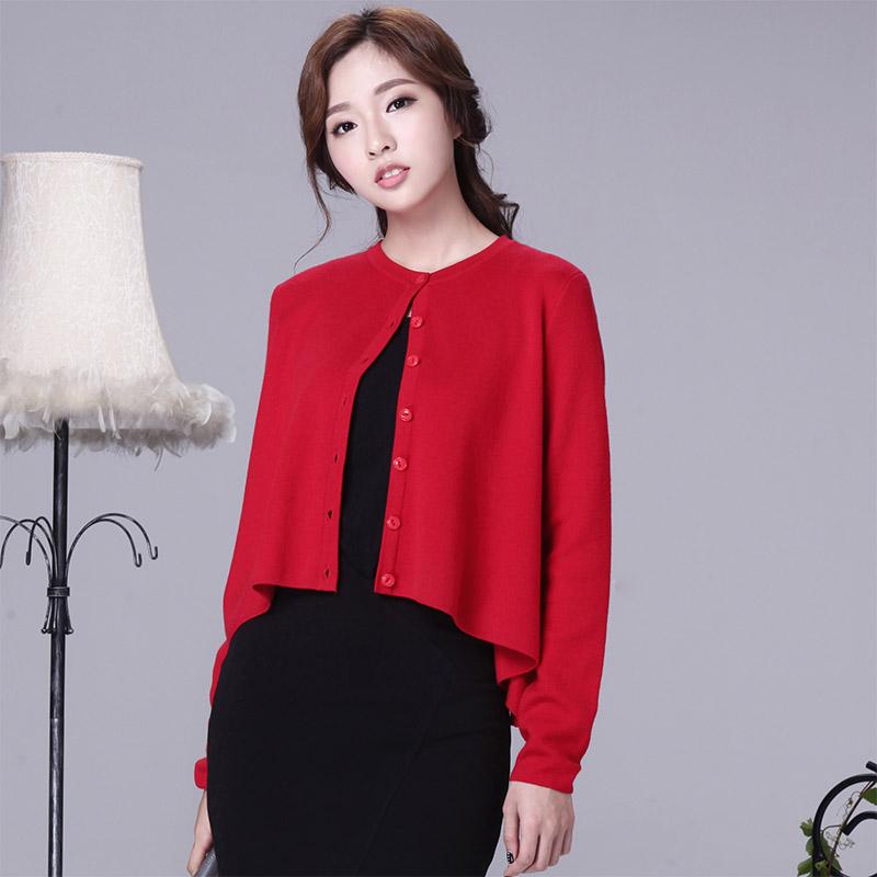 Soneed uc5054 Korea Fashion Style warna solid baru tipis merajut kardigan (Merah)