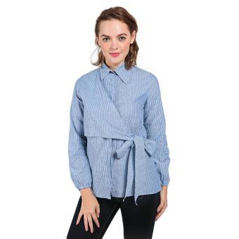 369 Cardigan Casual Wanita Motif Stripe Hitam. Source · SOYA Blouse Salur Wanita Tangan Panjang