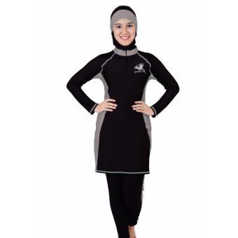 SPORTE Baju Renang Muslim Slimfit SP 03 Hitam Abu