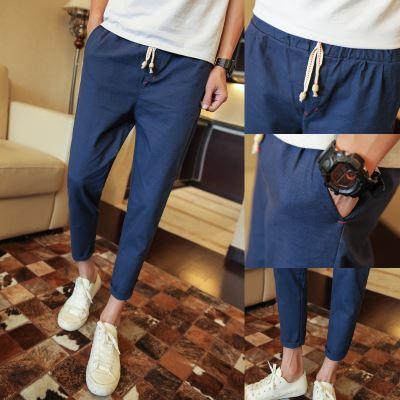 Flash Sale Spring and summer ankle-length pants skinny pants men pants (16 biru