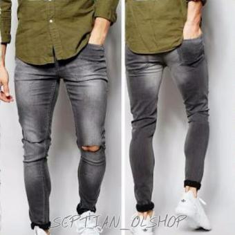 harga SR_Cloth Celana Jeans Pria Sobek Ripped Premium Abu Wash Lazada.co.id