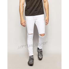 SR_Cloth Celana jeans putih Sobek Ripped