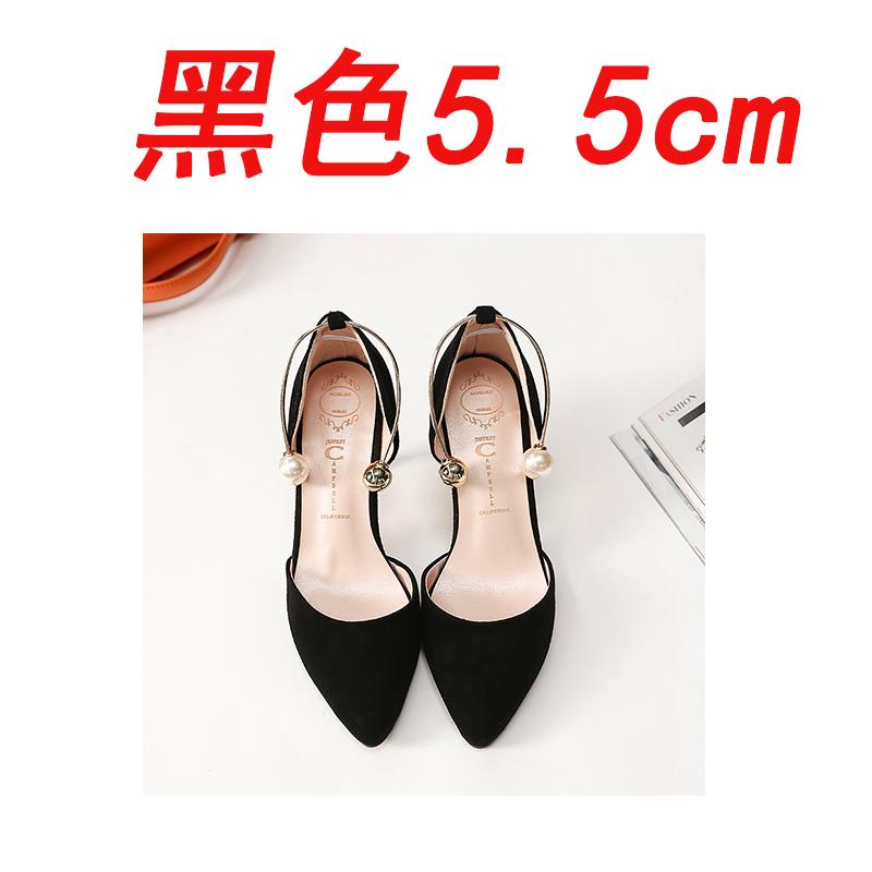 Flash Sale Suede menunjuk datar mutiara mulut dangkal sepatu wanita sepatu sandal (Hitam 5.5 cm
