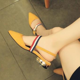suede semi dan menunjuk sepatu tunggal sepatu wanita (Kuning) .