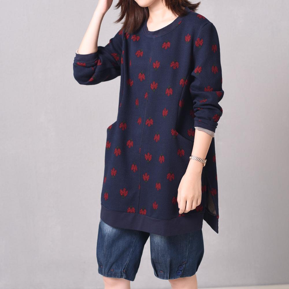 Suihua musim gugur yard besar adalah tipis dan panjang bagian pullover kemeja (Biru tua)
