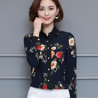 Gambar Summer Style Women Chiffon Blouse Long Sleeve Turn Down Collar Elegant Floral Print Office Shirt