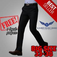 Superior - Celana Formal Bahan Teflon Tebal Anti Air - Celana Panjang Pria Slim Fit / Slimfit / Slim / Ramping - Big Size Ukuran Besar - Warna Hitam Polos Pekat - Celana Kain Termurah