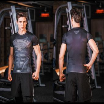 Superman legging pakaian laki-laki kebugaran pakaian Workout (Hitam hijau gelap otot Superman)