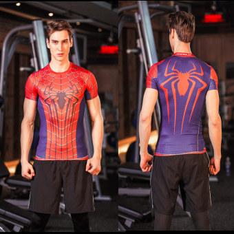 Superman legging pakaian laki-laki kebugaran pakaian Workout (Hong laba-laba)