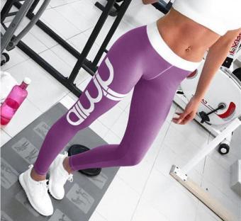 Surat Cetak Yoga Tights Tabrakan Wanita Fitness Olahraga Legging Tinggi Elastis Dorong Up Yoga Pants