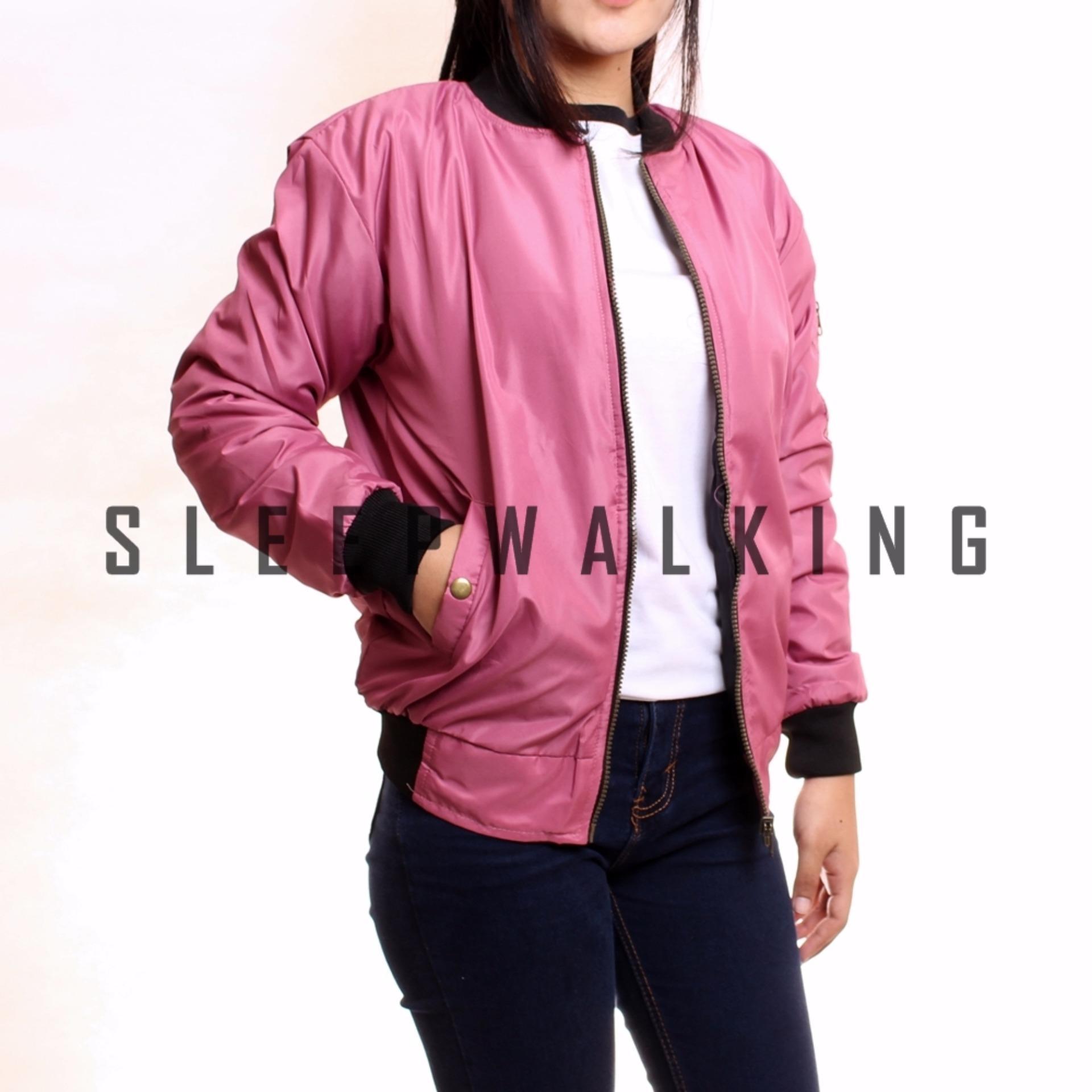 Bandingkan Toko Sw Jaket Bomber Wanita Pink Eshop Checker Maroon