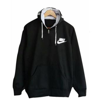 Sweater Pria Hodie - Sweater Hodie Text Black - Fleece