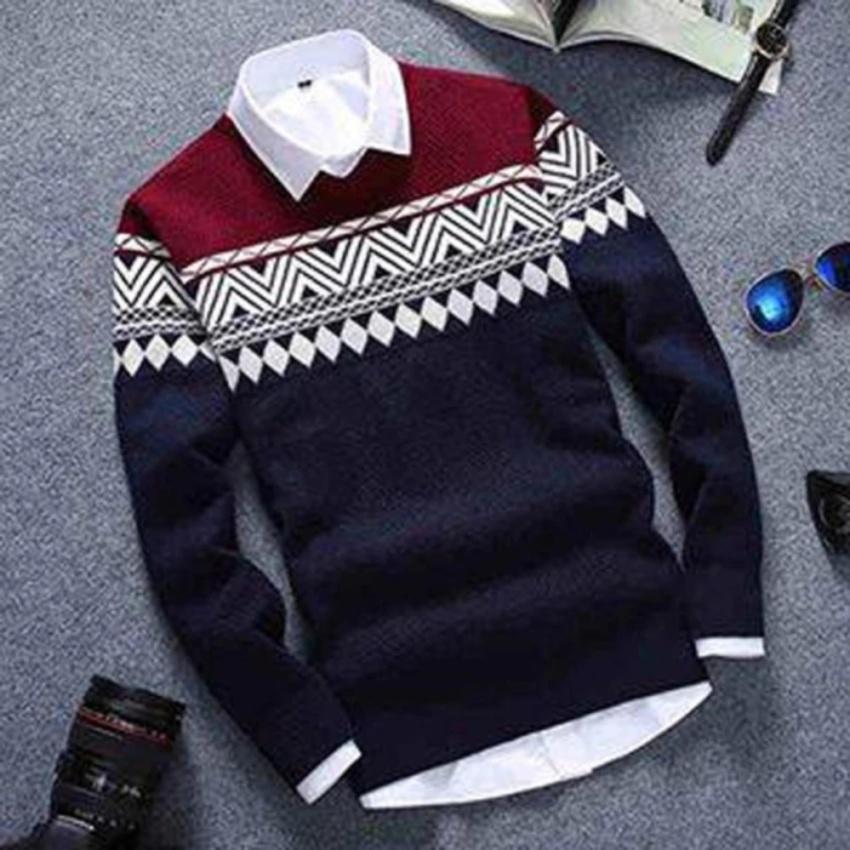 sweater pria rajut COLOMBUS NAVY model terbaru