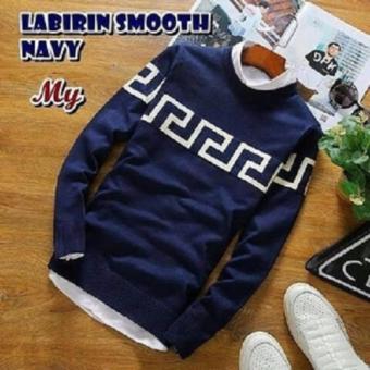 Sweater Pria Rajut - Labirin Smooth Navy - Rajut Tribal