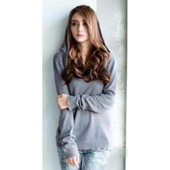 Gambar Sweater Wanita Rajut Hodie Simply Sweater Rajut Halus Dark Grey