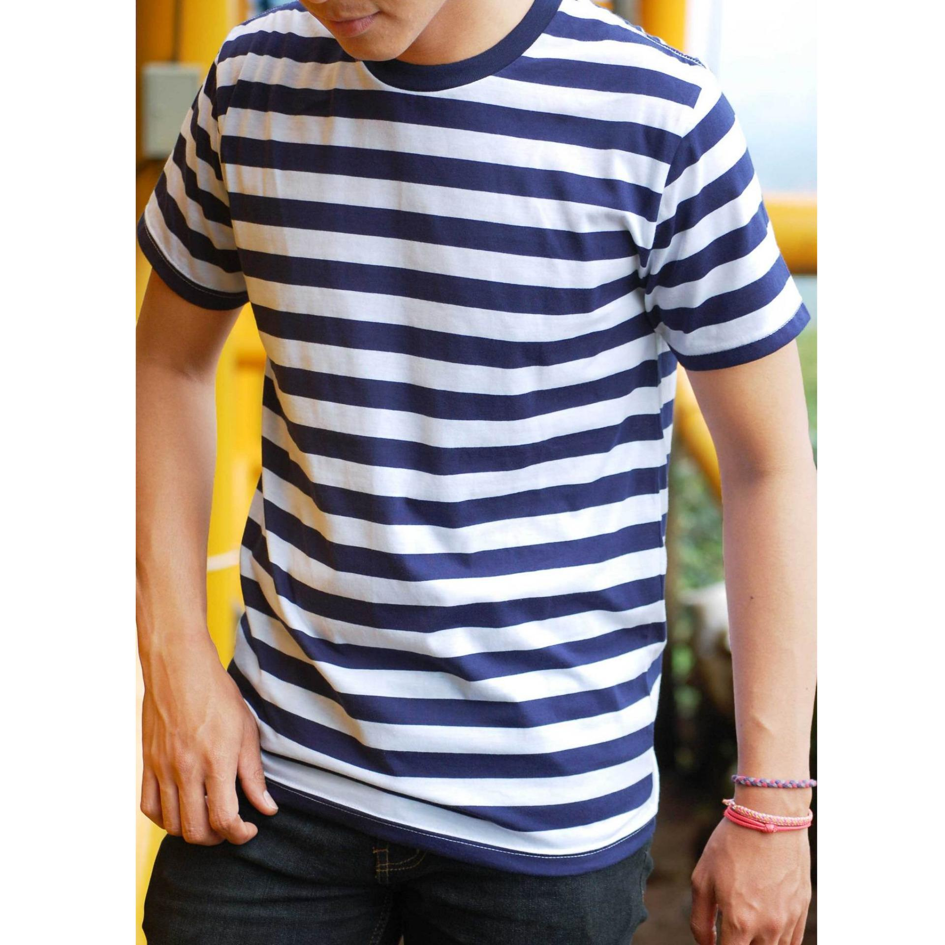 T shirt Strip Garis Biru Navy