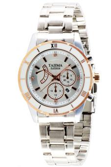 Tajima Analog - Jam Tangan Pria - Putih - Strap Stainless Steel - 3804 GRT-A01