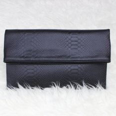 Tas Hand Tangan Women Woman Wanita Pesta Leather Clutch Bag - Hitam