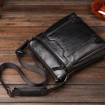 Tas kualitas tinggi tas selempang kulit tas kulit pria Korea bagian vertikal maupun bisnis tas Messenger (coklat/tanpa dompet) - 4