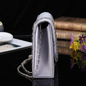 ... Tas Pesta Satin Bridal Diamante wanita kopling pesta Prom tasamplop putih - Internasional - 4