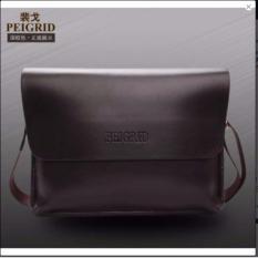 Tas Pria Multifungsi Kulit Selempang Sling Bag Messenger Crossbody Peigrid - Brown