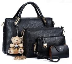 Tas Wanita - Kulit Buaya PU Faux Leather Tote Shoulder Hand Bags (Set of 5) - Hitam