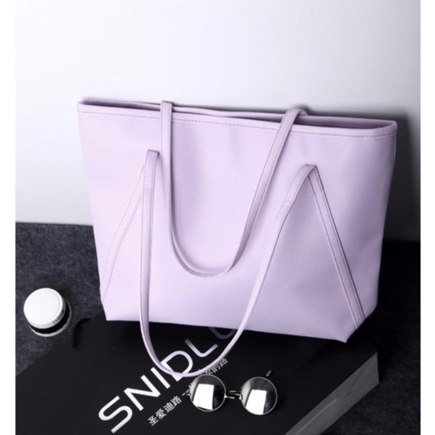 Tas Wanita Kulit Fashion PU Women Leather Tote Bag Handbags Shoulder Bags - UNGU