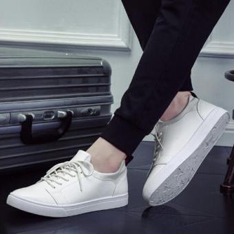 Harga TF 2017 baru fashion pria pola waktu luang ventilasi yang  berlantaidatar sepatu olahraga (putih c0b21d6ed7