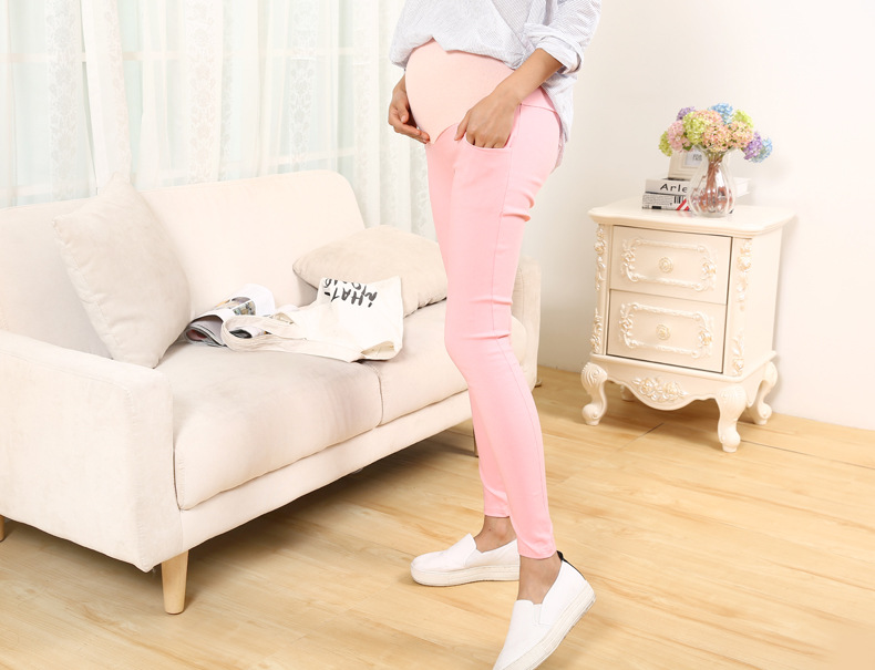 The new leggings pregnant women, pregnant women care belly pants thin models pantyhose pencil pants(pink)