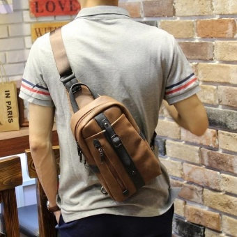 The new trend of Korean leisure chest pack Crazy Horse male package man SATCHEL BAG BAG chest tide - intl - 4