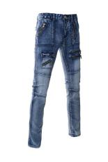 TheLees Slim Straight Zipper Pocket Jeans Blue