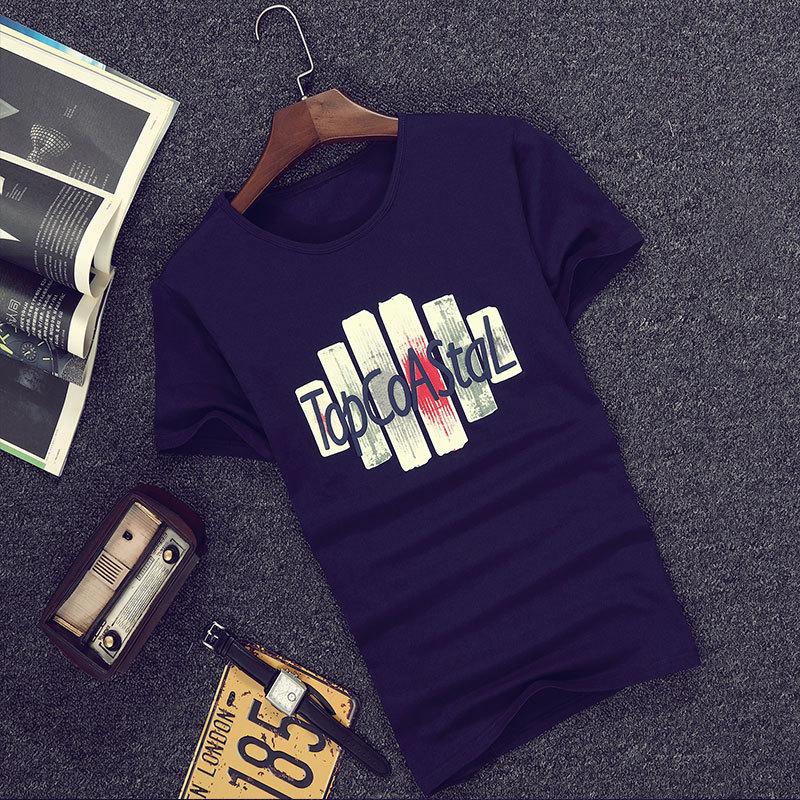 Tide merek huruf baru bernapas lengan pendek t-shirt (1639 biru tua) c03b5fe3f3