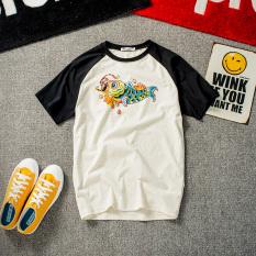 Tide merek Jepang lengan raglan muda kemeja leher bulat t-shirt (Warna campuran)