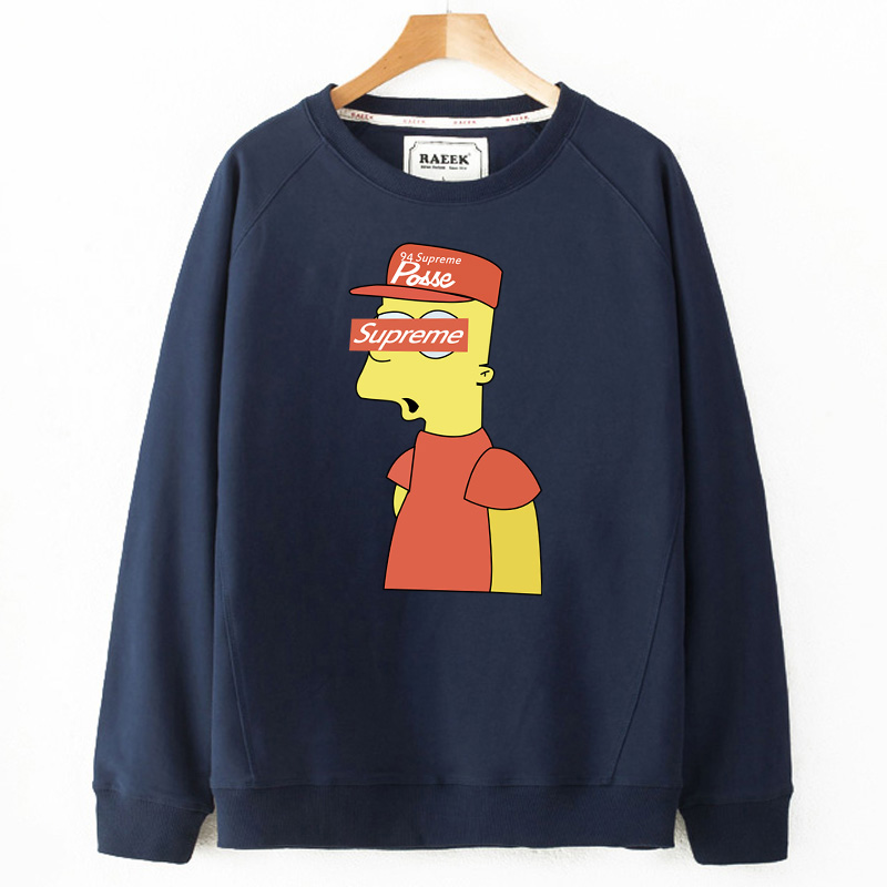 Tide merek kasual musim gugur bagian tipis olahraga t-shirt leher bulat pullover sweater (
