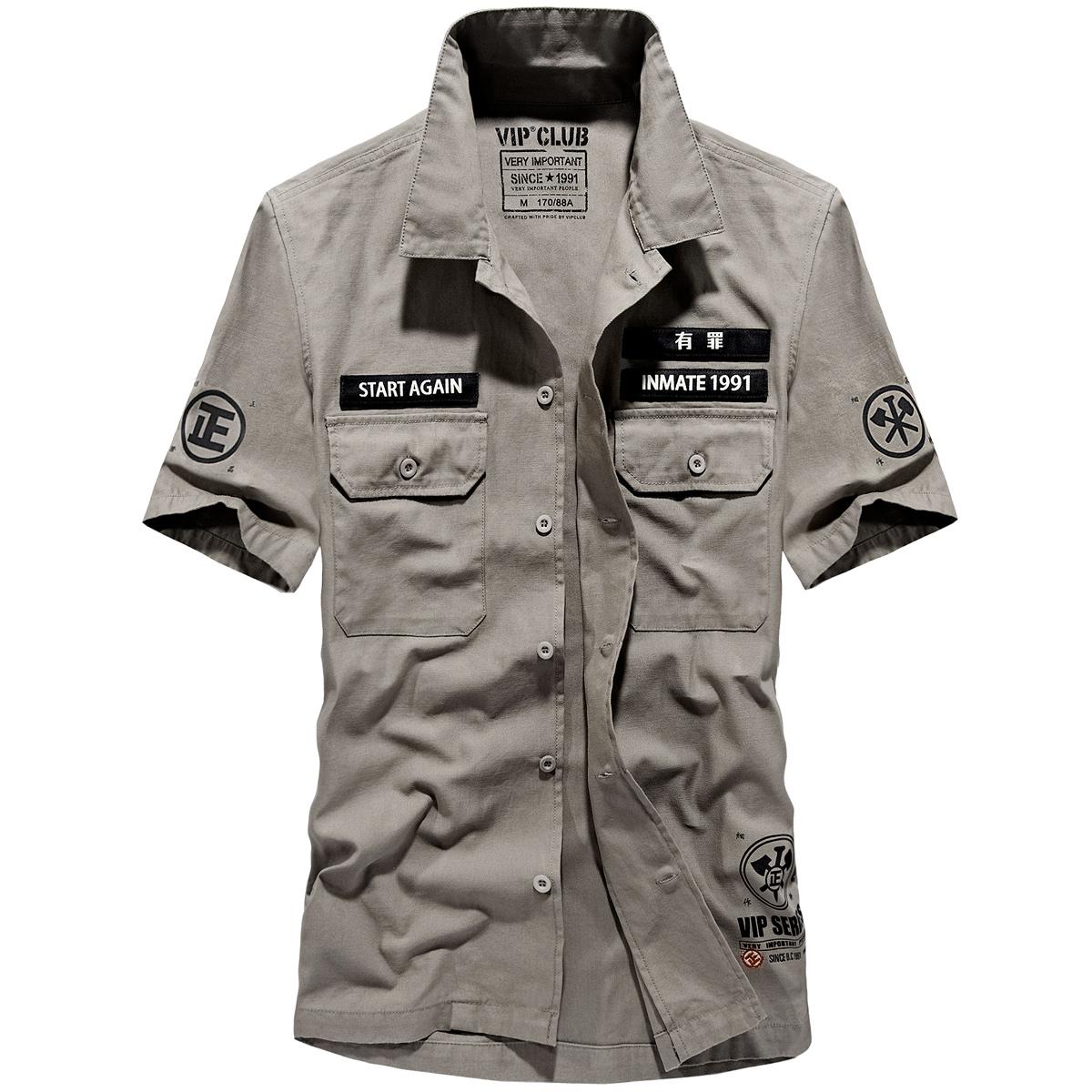 Denim Baru Katun Kemeja Lengan Pendek Biru Tua Panjang Olive Army Shirt Logo Jeans 24350l5gn Hijau M Flash Sale Tide Merek Korea Fashion Style Pria Slim Baju