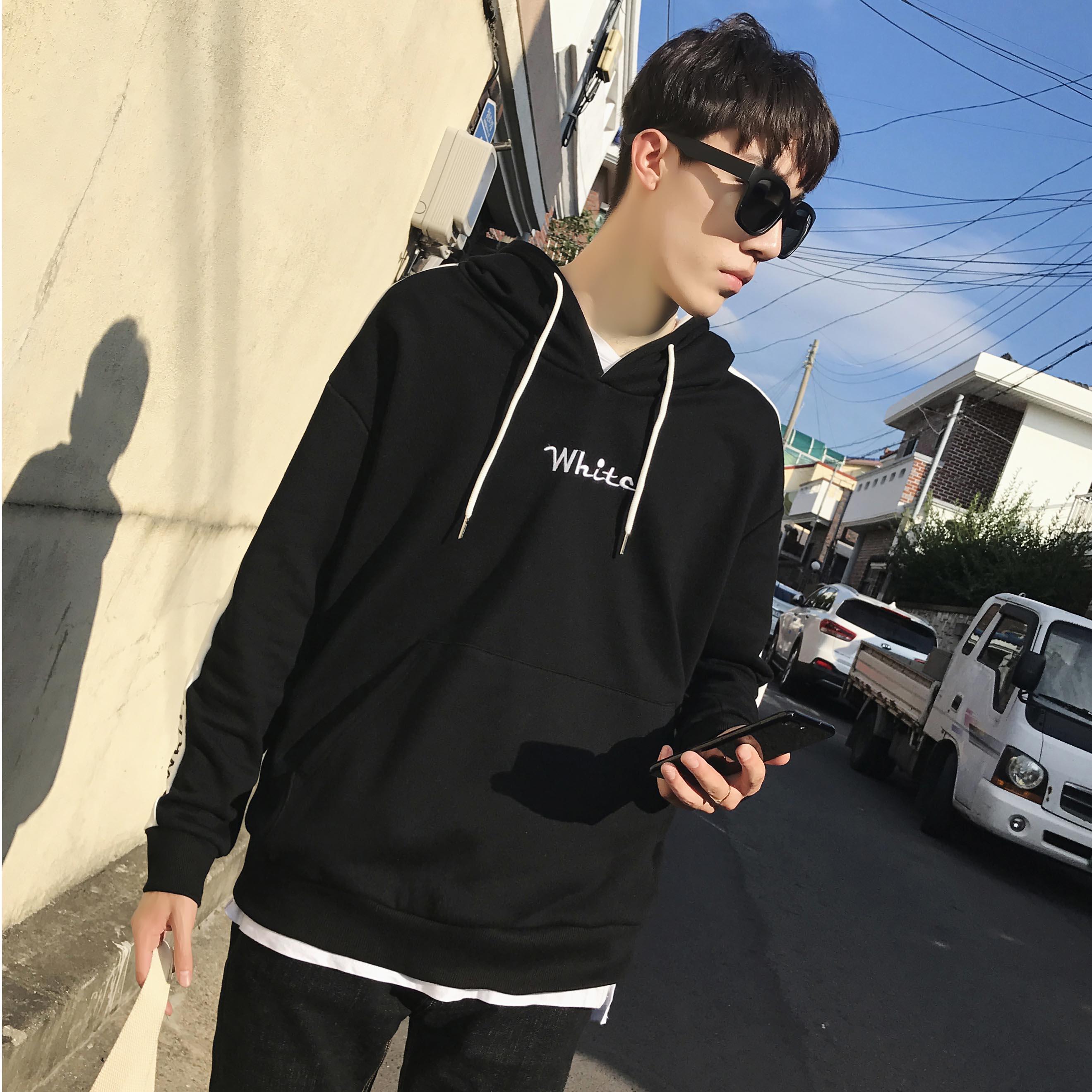 Tide merek Korea laki-laki lindung nilai berkerudung jaket olahraga berkerudung sweater (Hitam)