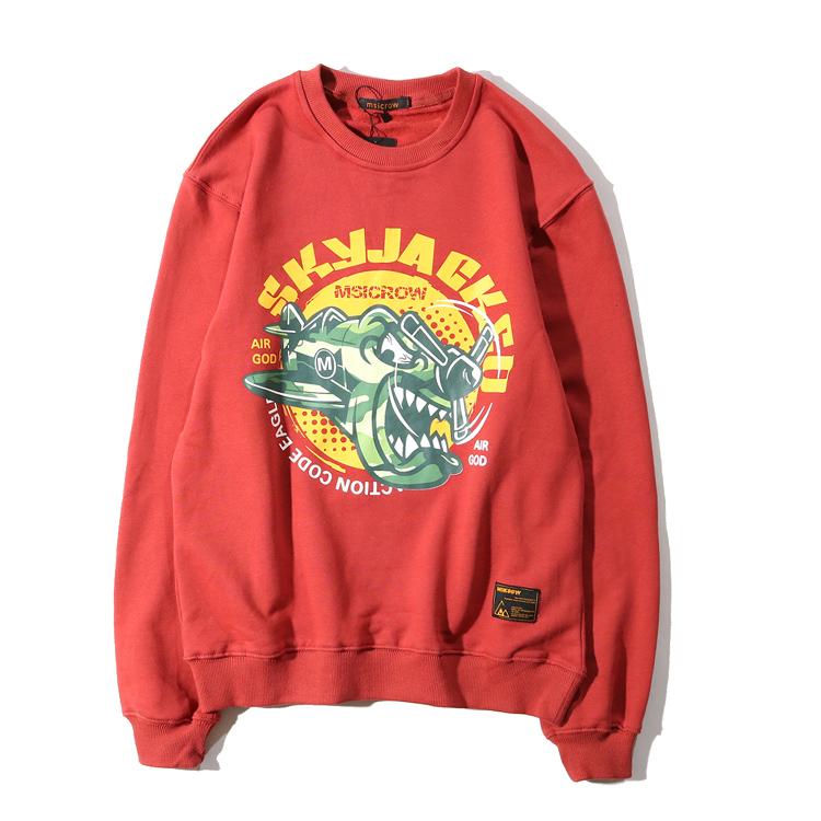 Tide merek laki-laki kartun pesawat dicetak longgar sweater leher bulat pullover sweater (Merah