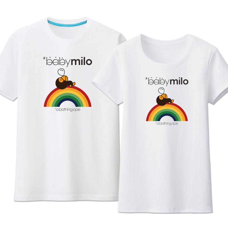 Tide merek monyet busana baru untuk pria dan wanita t shirt Pelangi monyet putih