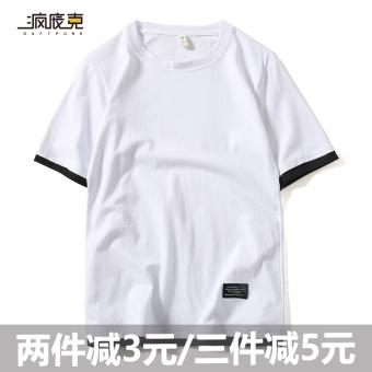 Belanja murah Tide merek perempuan lengan pendek asli palsu dua lengan pendek t-shirt (