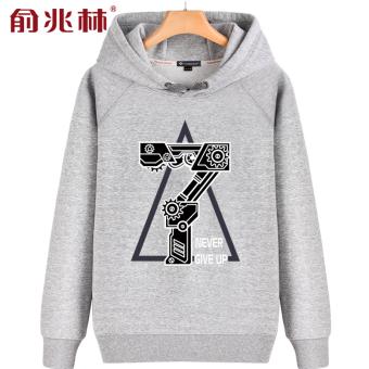 Daftar Harga Tide merek pria tren musim gugur pria olahraga dan hoodies  berkerudung sweater (Abu 7979cf84cd