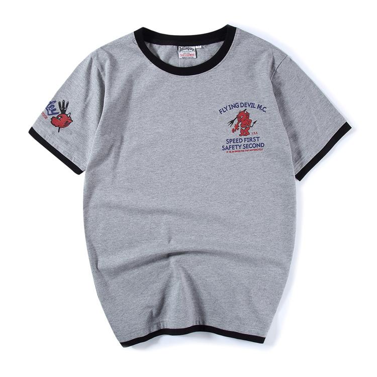 Flash Sale Tide merek sederhana baru asli palsu dua t-shirt (Abu-abu