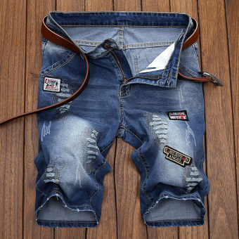 Tide merek yang populer pria Slim celana Lurus Celana Pendek Denim (1707 celana pendek)