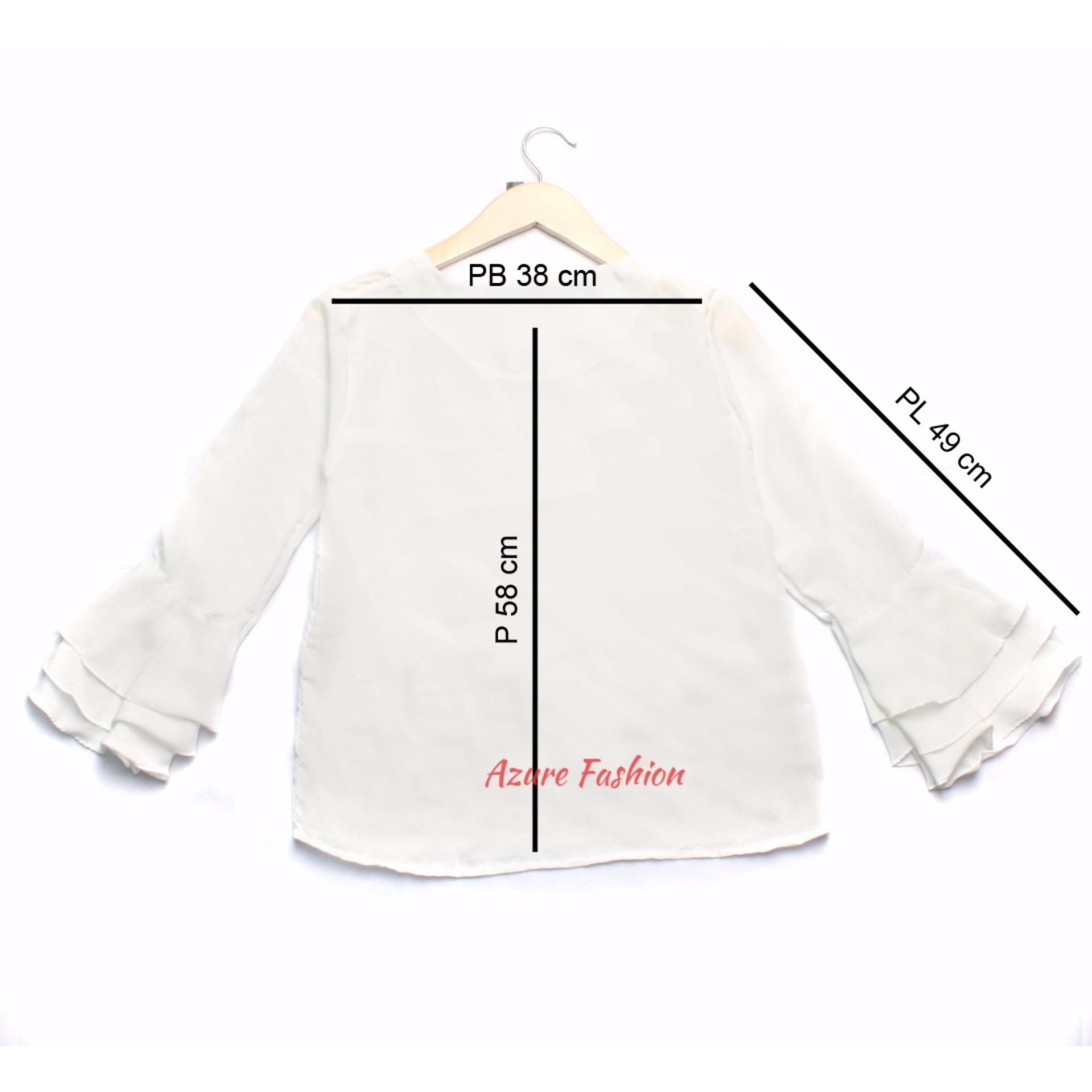 Reyn Shop Blouse Erkud Top Putih Tunik Wanita Baju Atasan Baju