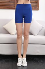 Tiga poin katun anti pinggang tinggi adalah celana pendek elastis musim panas celana pendek (Biru