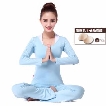 Tipis aerobik kebugaran pakaian tari persegi pakaian yoga (Cahaya biru lengan panjang) (Cahaya biru lengan panjang)