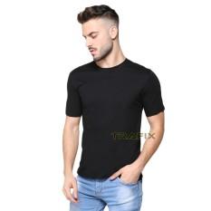 TRAFIX Kaos Polos Pria Premium - T-Shirt Polos Hitam 30s