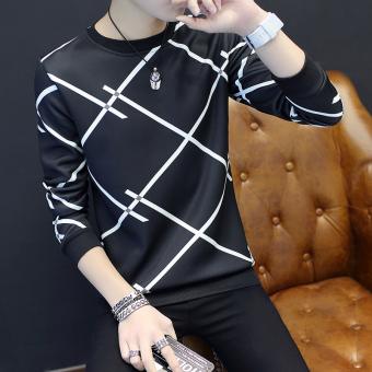 Tren Tambah Beludru Leher Bulat Slim Pakaian Pria Kaos Sweater T-shirt (Banyak X